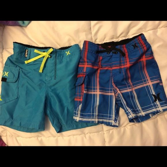 Hurley swimsuit boys youth board shorts swim trunks blue plaid  size 18